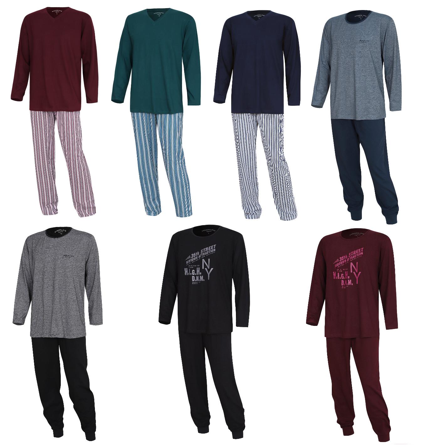 Schlafanzug Pyjama Hausanzug Nachtwäsche 2 teiliger Pyjama langarm für Herren