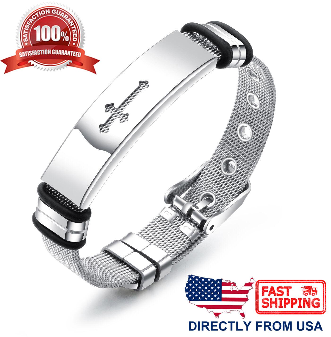 Men's Stainless Steel Fluer de lis Cross Bracelet Bracelets