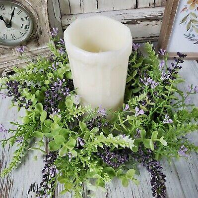 Eucalyptus Lavender Berry Pillar Large Candle Ring - Farmhouse Small -
