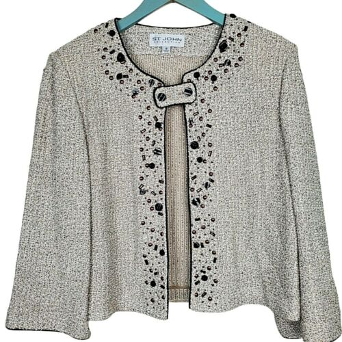 (Size 12) - ST JOHN COLLECTION Embellished Textured Knit Sweater Jacket USA