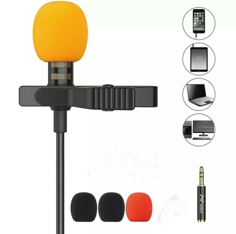 PoP Voice Lavalier Lapel Mic PV610+ clip on wired omnidirectional noise cancel