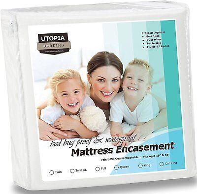 Waterproof Zippered Mattress Encasement Cover  Bed Bug Proof