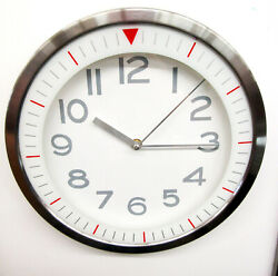 NEW 12' DW PRINT IRON 3AST WALL CLOCK WITH WHITE DIAL -RED MARKERS- FS2551W
