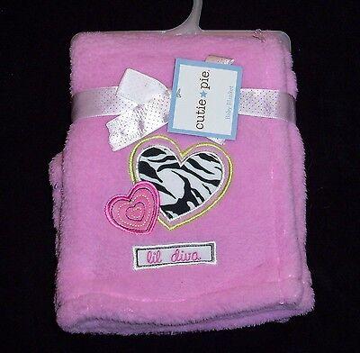 NEW Cutie Pie Pink Lil Diva Baby Blanket Zebra Print Heart Soft Security Lovey