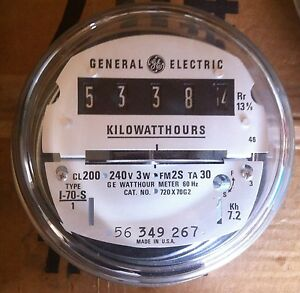 GE- ELECTRIC WATTHOUR METER (KWH) - TYPE I70S, I-70S, EZ READ, 240V, 200A