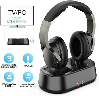 Rybozen Wireless TV Headphones with Transmitter Dock, Over-Ear Cordless Headset
