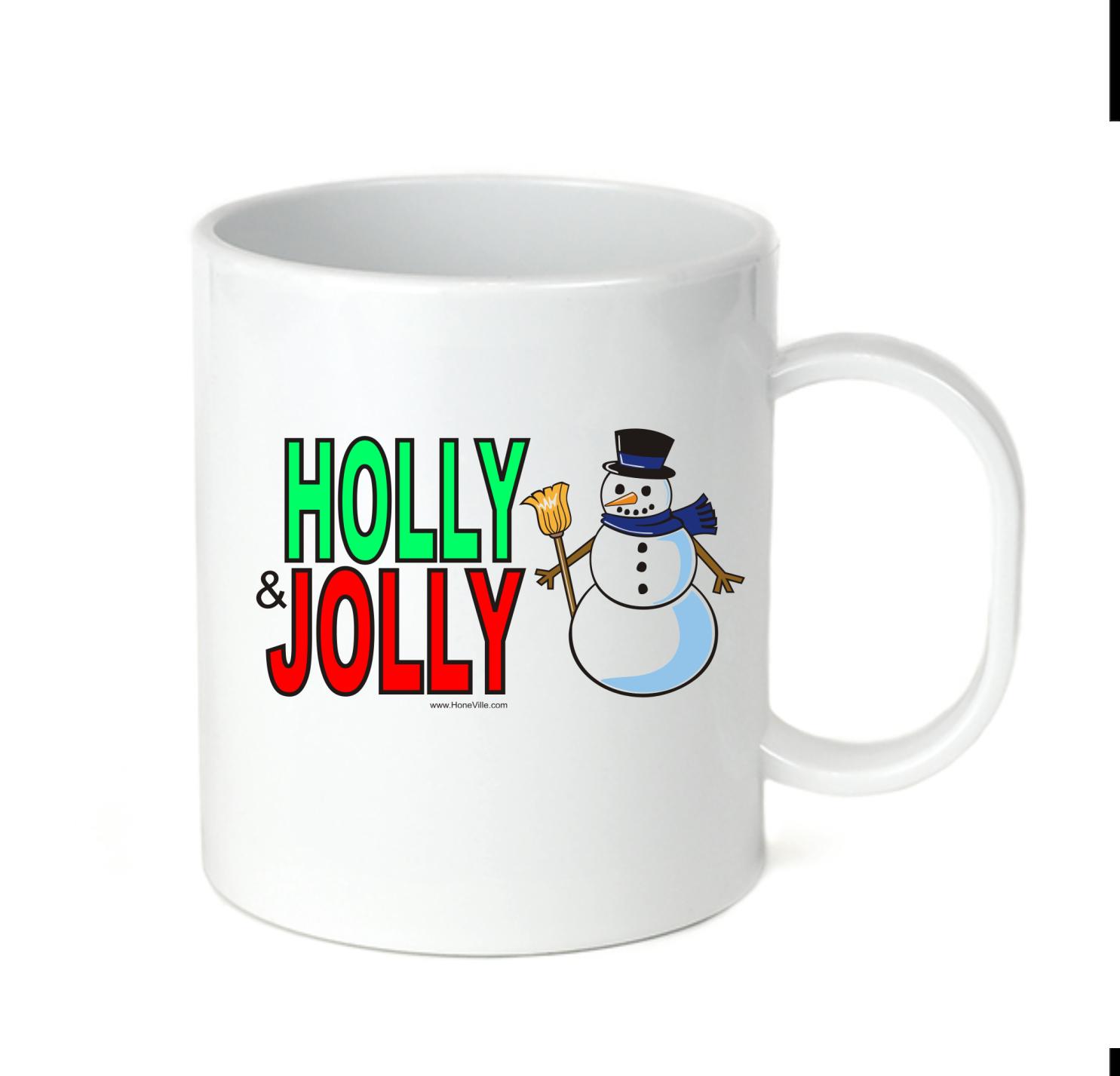 Coffee Cup Mug Travel 11 15 oz Holly & Jolly Snowman Snow Ma