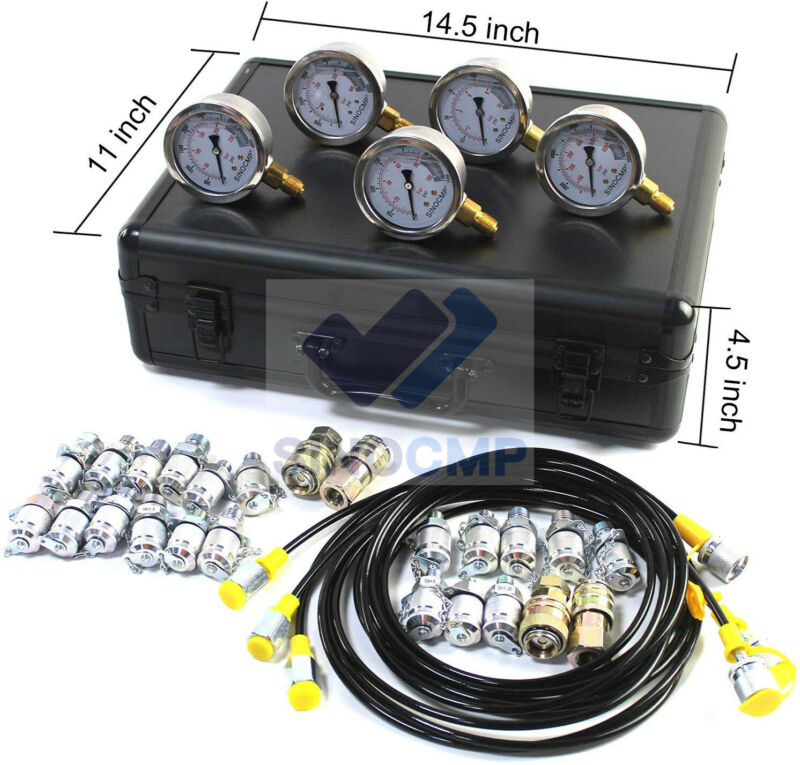 5 Gauges Hydraulic Pressure Gauges Kit, Upgraded Version Hydraulic Gauge Kit