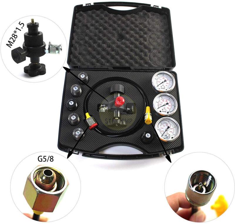 Hydraulic Nitrogen Accumulator Charge System Pressure Gague Kit, 2 Year Warranty