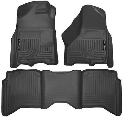 Husky Liners Front & 2nd Seat Floor Liners Fits 09-18 Ram 1500 Crew Cab 99001  Black Second Seat Floor Liners