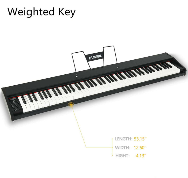 88 Key Electric Digital Piano Keyboard Weighted Key w/ Pedal, Power Supply&Stand