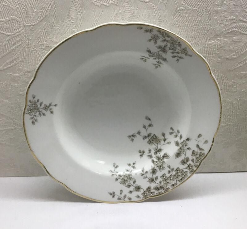 "CARLSBAD AUSTRIA RIMMED SOUP PLATE - 9.5"" Diameter, Gold Trim, Gray Flowers"
