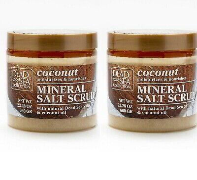 2 x Dead Sea Collection Coconut Oil Mineral Salt Natural Bath Body Scrub Large