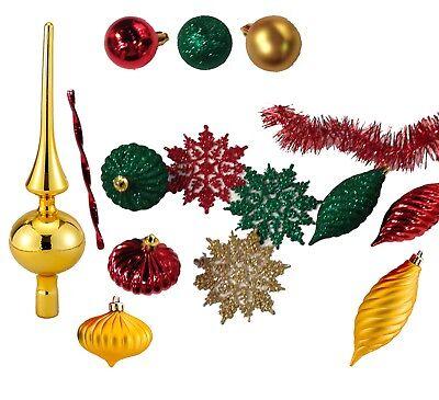 KURT S. ADLER CHRISTMAS TRIM KIT 150 TREE DECORATIONS FOR 7ft TREE RED & GREEN