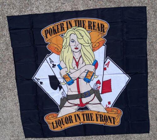 """Poker In The Rear Liquor In the Front Wall Banner -Tapestry 45""""x45"""" Bar Man Cave"""
