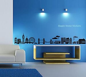 Huge London City Skyline Art Decal Wall Stickers for Stylish Home and Office