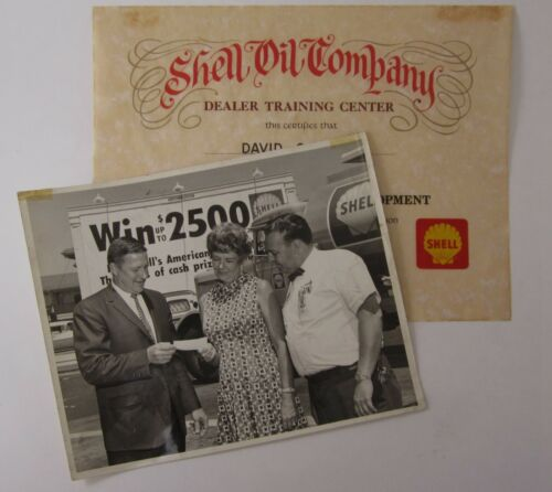 Vtg Shell Oil Photo Gas Station Dealer Management Certificate Ad Contest 1966