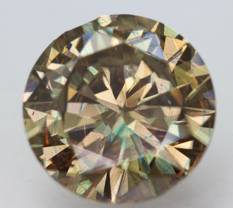 Cert 5.11 Carat Yellow Brown VS2 Round Brilliant Enhanced Natural Diamond 11.23m
