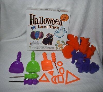Halloween Preschool Craft Lot Lace & Trace, Sponges 2 Sets of Pumpkin Cutters