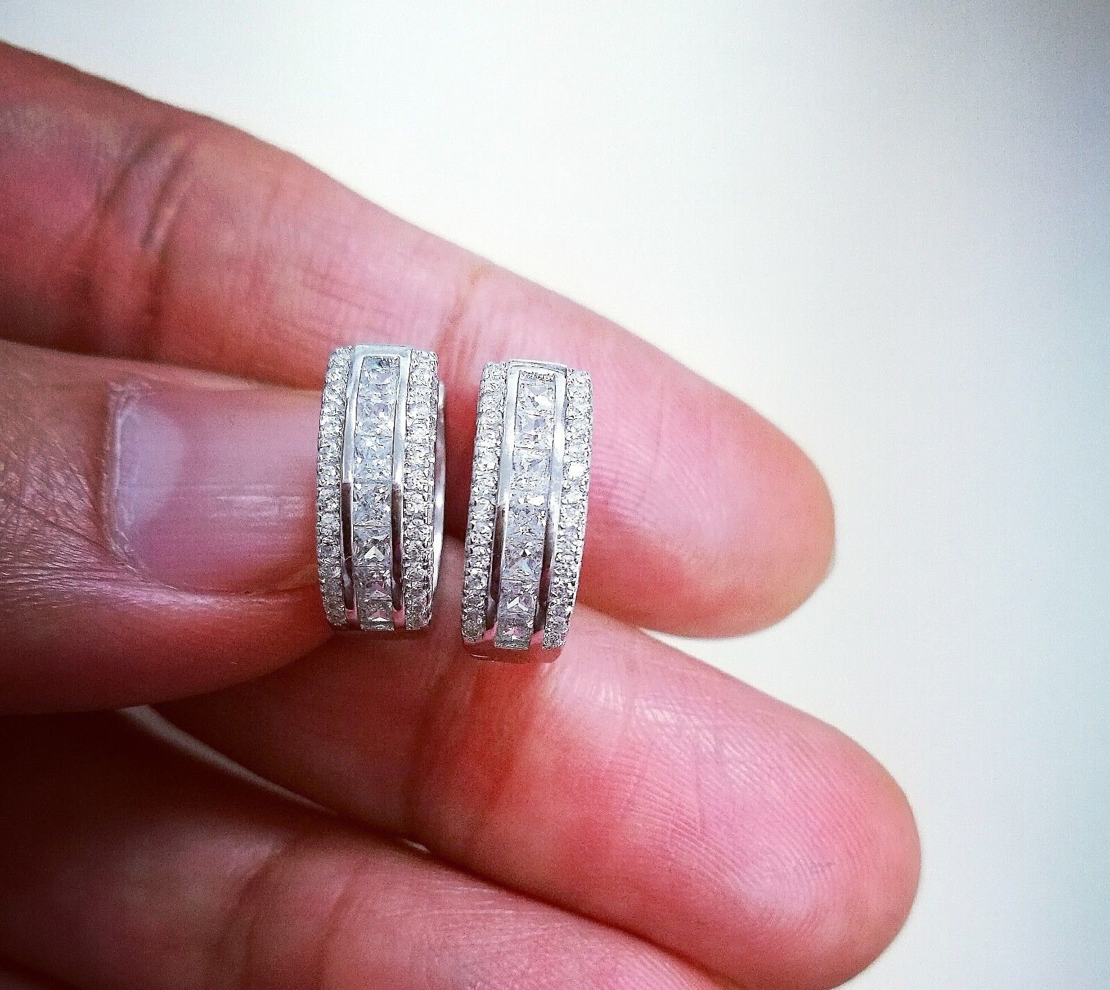 1 Ct Diamond Hoop Earrings Women Hoop Earrings 14K White Yellow Gold over 7
