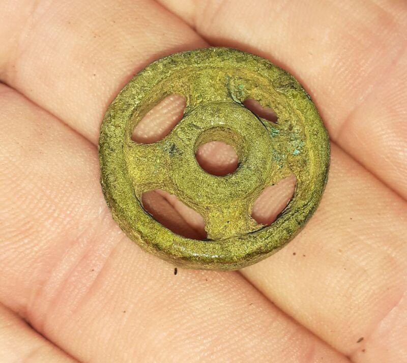 "Celtic Bronze ""Wheel"" Amulet 1st Century B.C. As Found"