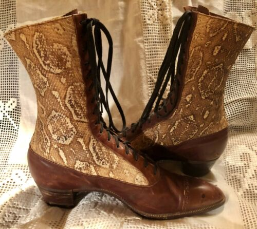 RARE ANTIQUE EDWARDIAN GENUINE SNAKESKIN AND LEATHER LACE UP BOOTS