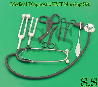9 Piece Black Medical Kit Diagnostic Emt Nursing Surgical Ems Student Paramedic