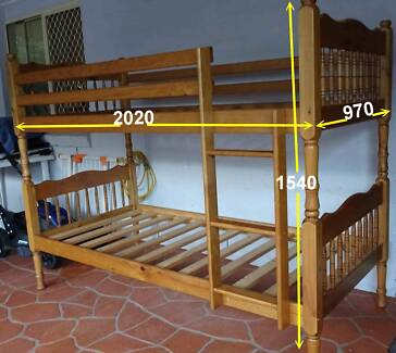 Pine Bunk Beds (2x Single) with mattresses