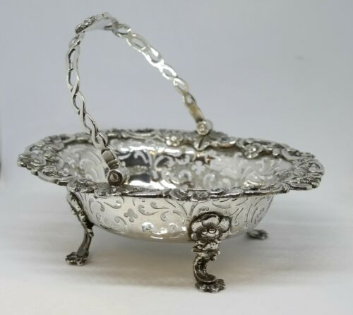 """1756 Small """"Sweet Meat"""" Basket, Sterling Silver, William Plummer of London"""