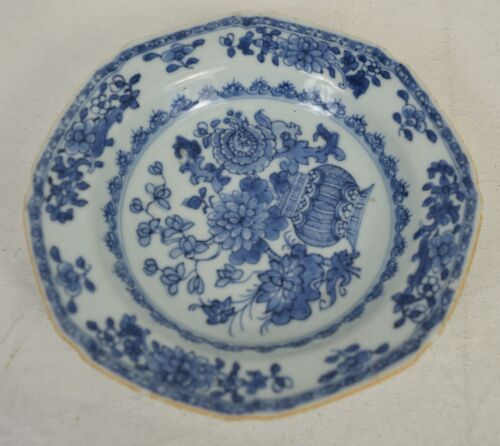 "Transferware Blue Pearlware Plate Floral Flower Basket 6.25"" Antique"