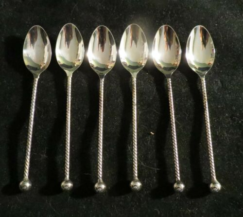 """6 Silverplated """"DE HH"""" 100 Demitasse Spoons twisted handle w/ball end EXC!"""
