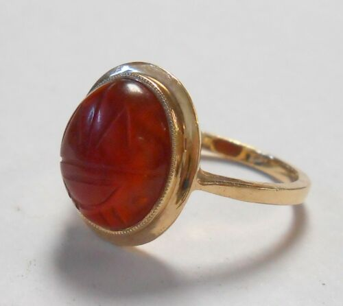 Vintage Carved Scarab Carnelian Cabochon 14K Yellow Gold Ring Size 7