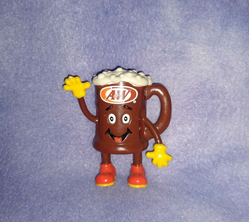 """RARE Vintage A&W Root Beer Float PVC Figure """"Food Dudes"""" Straw Buddy 1998"""
