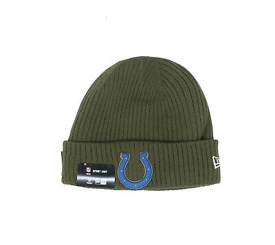 New Era Toque Beanie Men Unisex Hat Cap Indianapolis Colts 2018STS Army Green New Era Toque
