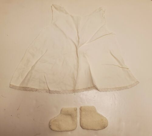Vtg Infant White Sheer Lace Christening Gown Baptism Dress &  Booties 1950