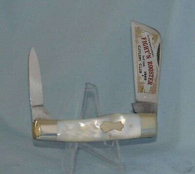 """FIGHT'N ROOSTER MOTHER OF PEARL COTTON SAMPLER KNIFE """"NEAR MINT!!"""""""