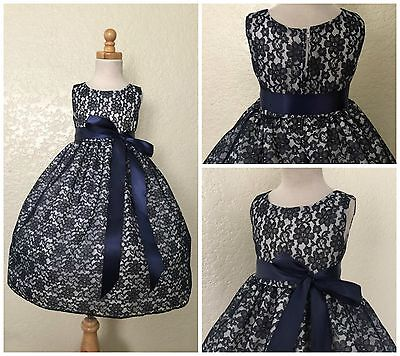 Navy Floral Lace Flower Girl Bridesmaid Elegant Christmas Toddler Girl Dress #01