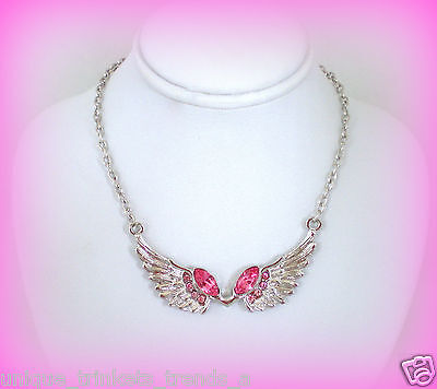 OCTOBER BIRTHSTONE PRETTY ROSE PINK CRYSTAL SILVER ANGEL WING NECKLACE PENDANT Crystal Birthstone Angel Pendant