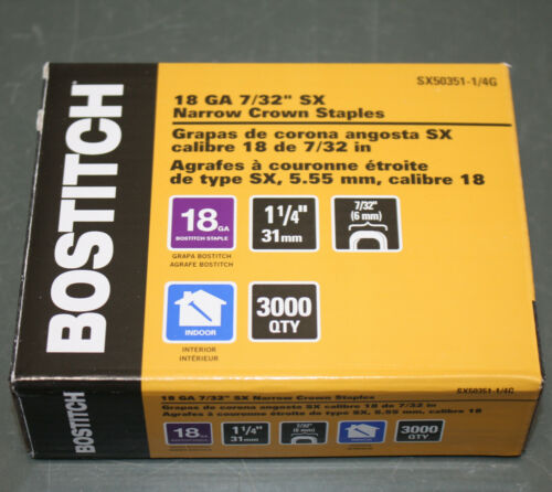 "(3000) Bostitch Narrow Crown Staples SX50351-1/4G, 7/32"" W x 1-1/4"" L, 18ga"