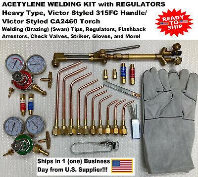 Weldingbrazing Kit W Regulators Acetyleneoxy Victor Type 315fc2460ca -new
