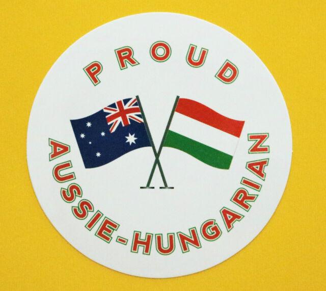 PROUD AUSSIE - HUNGARIAN AUSTRALIAN STICKER HUNGARY VINYL DECAL CAR CARAVAN