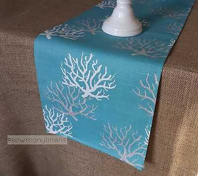 Aqua Turquoise Spa Blue Table Runner Coral Reef Nautical Coastal Decor Linens - Coral Table Runner