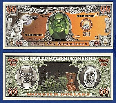1-Scary Halloween Monsters Dollar Bill Tombstones Collectible-Novelty Money-P1