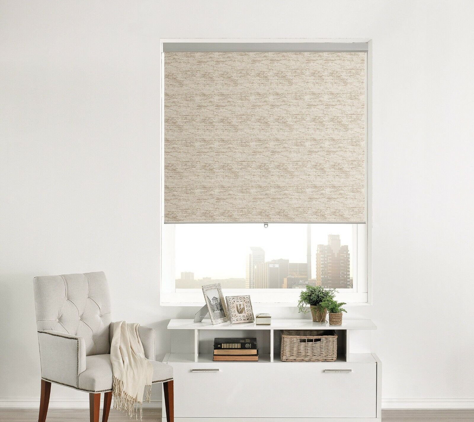 Brielle Home Distressed Jacquard Cordless Roller Shade Blinds & Shades