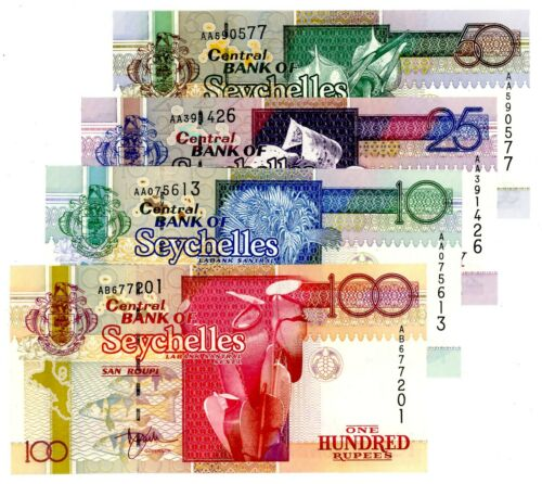 Seychelles ... P-36-39 ... 10-100 Rupees ... ND(1998) ... CH*UNC* .