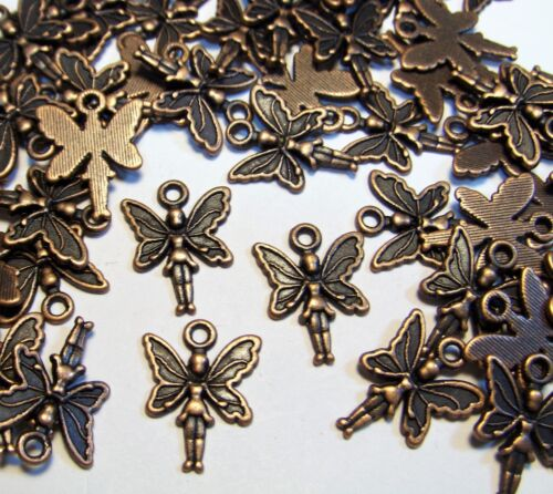 COPPER METAL FAIRY CHARMS-FANTASY-WHIMSY-PENDANTS-FINDINGS-JEWELRY-LOT OF 50pcs