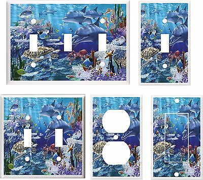 DOLPHINS SEA TURTLE OCEAN LIFE LIGHT SWITCH COVER PLATE    HOME DECOR - Lightswitch Cover