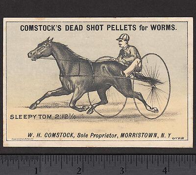 Sleepy Tom 1800's Race Horse Trotter Comstocks Dead Shot Worm Pellets TradeCard