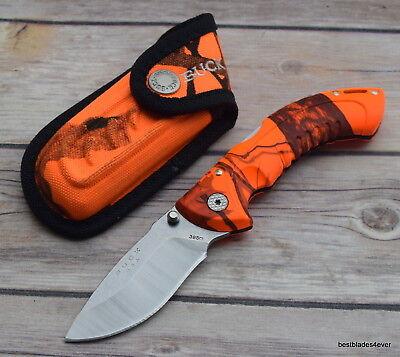 - BUCK OMNI HUNTER 10PT ORANGE CAMO MADE IN USA LOCK-BACK FOLDING KNIFE W/ SHEATH