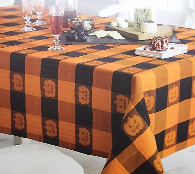 Midnight Market Halloween (Halloween Midnight Market Orange Black Pumpkin Jacquard 60x84 Oblong Tablecloth)